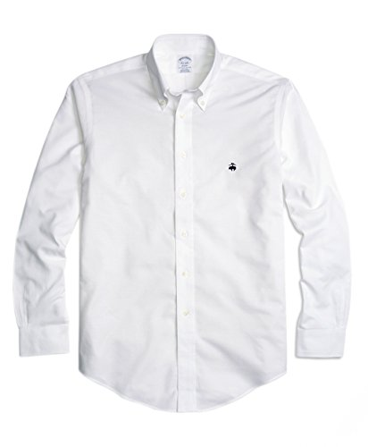(Brooks Brothers Men's Regent Slim Fit Non Iron Oxford Button Down Shirt White)
