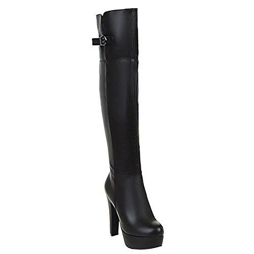 Black Mee Platform Boots Women's Knee Shoes Zip Warm Heel High aazqrgZ