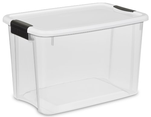 sterilite-19859806-30-quart-28-liter-ultra-latch-box-clear-with-a-white-lid-and-black-latches-6-pack
