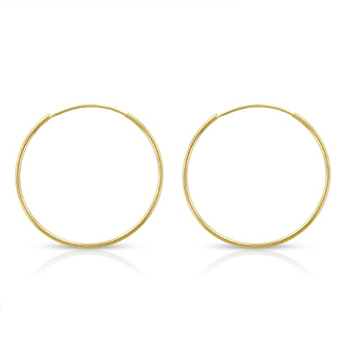 14k Yellow Gold Women's Endless Tube Hoop Earrings 1mm Thick 10mm - 20mm (18mm) -