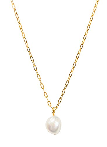 Dogeared Pearls of Beauty Baroque Pearl on Gold Dipped Chain 20