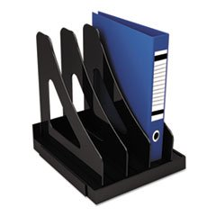 Vertical Add-On Sorter, Plastic, 3 Compartments, Black (Plastic Sorter Vertical)