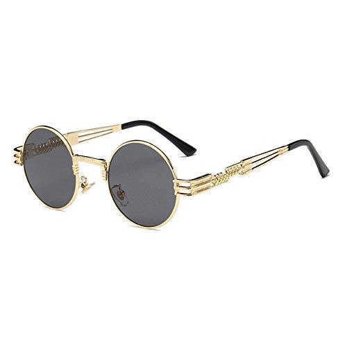 Lunettes Steampunk soleil hibote Gothique Rond Femmes C9 Polarized WrapEyeglasses Métal Hommes de qFY8wqa