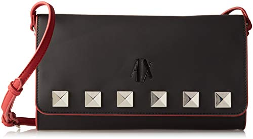 A|X Armani Exchange Studded Flap Over Clutch, nero