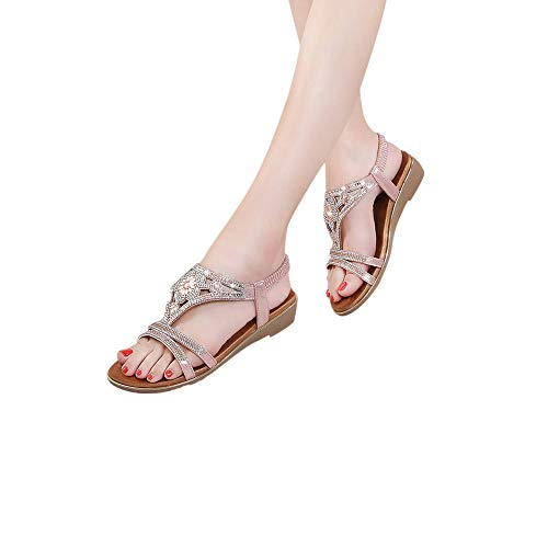 Price comparison product image CCOOfhhc Women's Bohemia Sandals Summer Crystal Beach T-Strap Flat Sandals Comfort Walking Shoes Pink