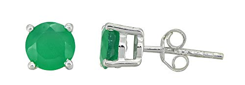 YoTreasure Round Green Onyx Stud Earrings Solid 925 Sterling Silver Jewelry