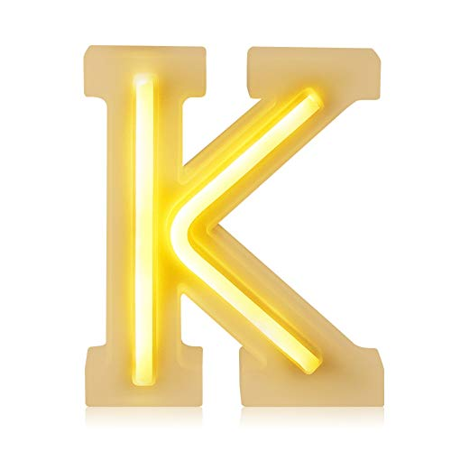 BISOZER Letter Arabic Numerals LED Marquee Light Sign, USB/Battery Operated 1-9 A-Z Night Lamps Christmas, Halloween Decor, Wedding Decor, Party, Baby Boy Girls Room Décor (K) for $<!--$14.99-->