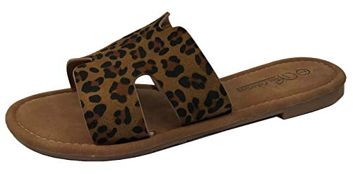 - Wells Collection Womens Slip On Slide Flat Sandal with Notch Cut-Outs, Leopard, 8