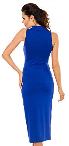 Zeta Ville - Vestido ajustado midi - cuello alto - sin mangas - para mujer 459z Azul Real