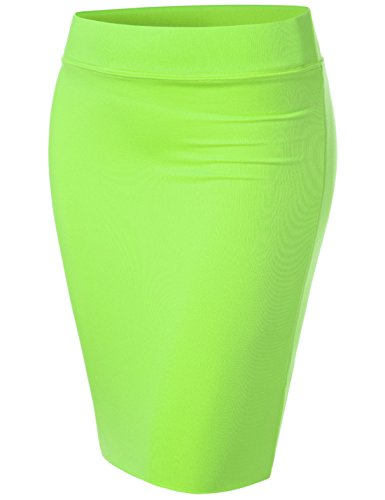 NEARKIN (NKNKW5S Beloved Womens Waistband Double Layered Pencil Midi Skirt Lime US M(Tag Size L)