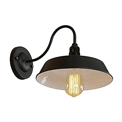 BRIGHTESS #8922 Retro Black Barn Wall Lights Gooseneck Barn Lights Industrial Vintage Farmhouse Wall Lamp Include ON-Off Wall Light Led Porch Light for Indoor led Light fixtures(Plug in)
