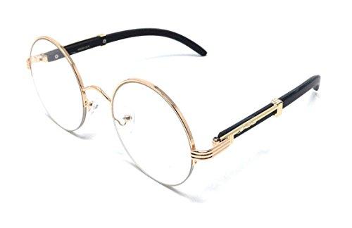 Professor Half Rim Round Metal & Wood Eyeglasses/Clear Lens Sunglasses (Rose Gold & Black Wood Frame, Clear)