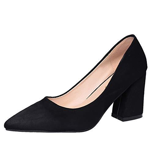 Altos Tacones tacón zapatos Rough Cómoda Gamuza de Black alto Ocupación Heels Baja Wild Yukun Boca Otoño Sq1B8