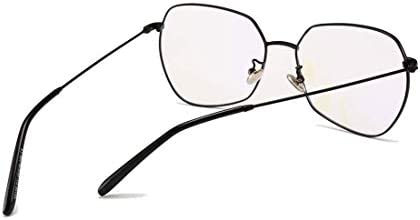 H54eru1z メタル眼鏡フレームの多角特大の男性と女性の非処方のアイウェア 6awa23z (Color : Black)