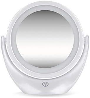 USB充電式ライトメイクアップミラー両面ミラー、1X / 5X倍率化粧鏡360度スイベルバニティミラー