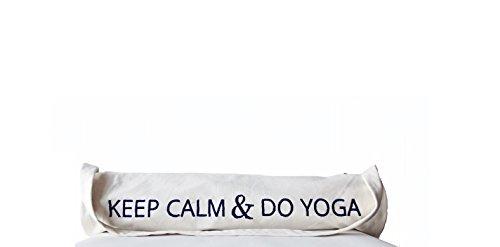 Amore SONP Handarbeit Custom Yoga Matte Tasche in hochwertiger–Hand bestickt Baumwolle Yoga Tasche mit Keep Calm And Do Yoga Nachricht–Geschenke für Frauen–Funny Quotes–leicht–Yoga Tragetasc Weiß - weiß 5JrpRYfI