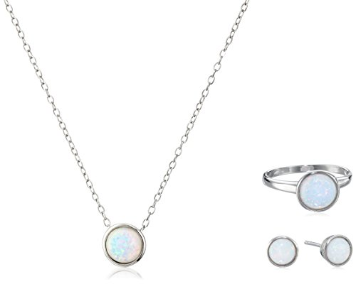 Bezel Stud Necklace (Sterling Silver Ring, Stud Earrings and Pendant Necklace with Created Opal Jewelry Set, Size 7)