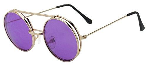 Round Colored Flip-Up Django Inspired Clear lens Sunglasses (Gold / Purple Lens, - Purple Sunglasses Men