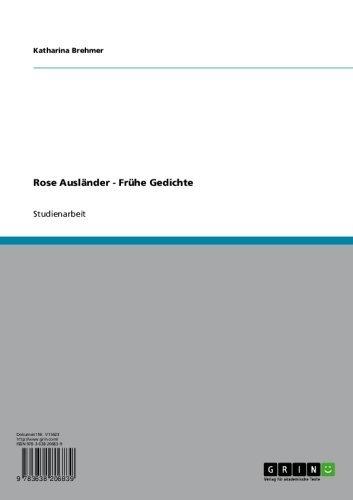 Amazoncom Rose Ausländer Frühe Gedichte German Edition