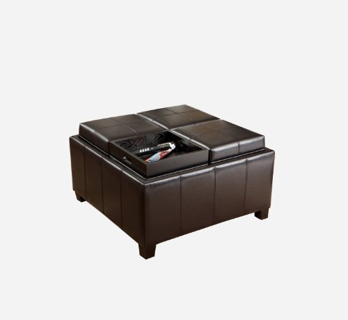 Best Selling Mason Leather Espresso Tray Top Storage Ottoman