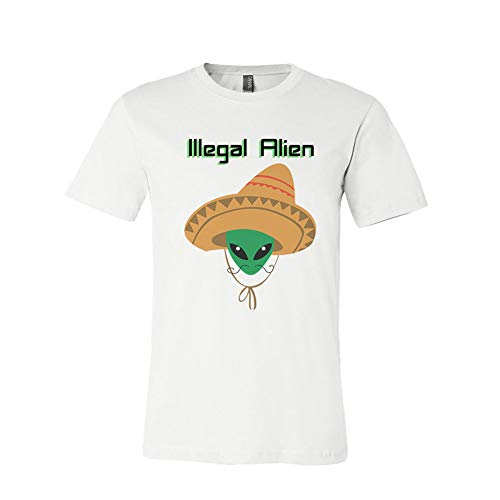 Illegal Alien Hat Adult Funny White T-shirt Tee]()