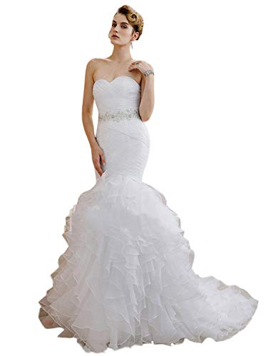 - Quintion Women's Sweetheart Organza Ruffles Mermaid Court Train Wedding Dress
