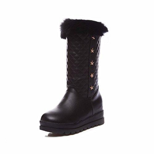 El otoño y el invierno en la Unión Americana y aumentar la cabeza redonda pie grande hembra código botas de nieve black