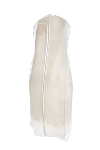 Bags for Less White Wedding Gown Travel and Storage Garment Bag Soft, Breathable, Durable, Rip and Water Resistant Material Large Size with 10 inch Gusset Clear Vinyl Pouch for Labeling