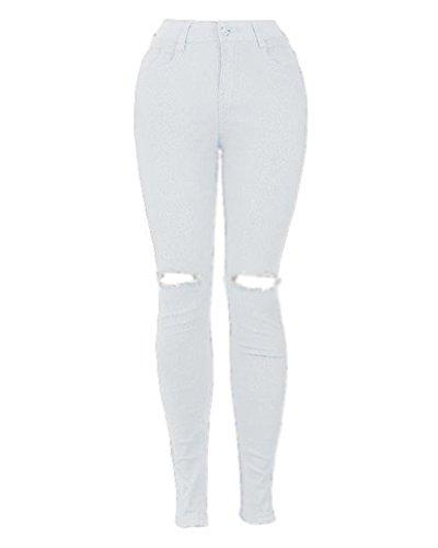 Mujer Pantalones Cintura Alta Ripped Elásticos Skinny Slim Vaqueros Leggings Jeans Blanco