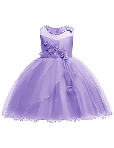 JOYMOM Easter Dresses for Girls, Toddlers Retro Flare Hem Sheer Organza Sleeveless Little Dress Kids Lavender Gowns Pure Color Bodice Tutu Skirt Purple Size (130) 5-6 Years ()