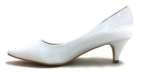 Coshare Womens Fashion Patent Embellished Front Low Heel Pumps White-16 CEEnt2F