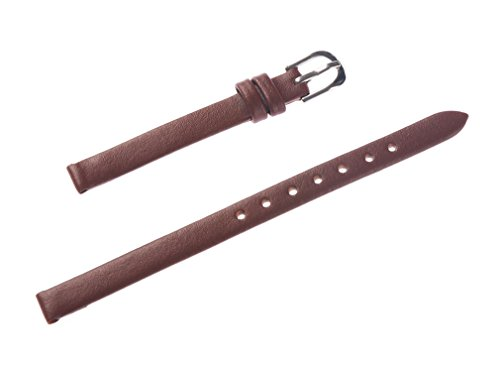 (Uyoung 8mm Women's Solid Brown Smooth Genuine Leather Watch Band)