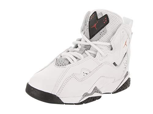 Jordan Nike Boy's True Flight Basketball Shoe (PS), White/Gym Red-Black-Wolf Grey 12.5C