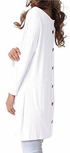 Et Mini Longues Femmes Jaycargogo Manches À Encolure Au robe Arrondie Blanche Dos wB1OFq