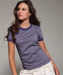 Bella Ladies Heather Short Sleeve Ringer Jersey T, Heather Purple/Purple, (Ladies Heather Ringer)