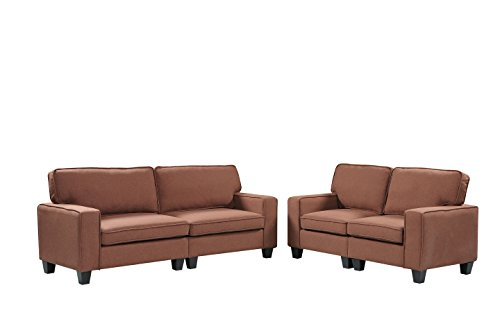 Harper&Bright Designs 2 Piece Sofa and Loveseat Set Living Room Sofa Set (Brown)