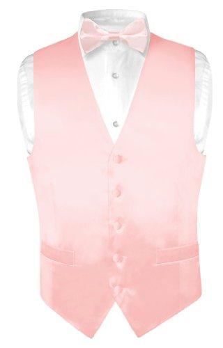 Biagio Men's Silk Dress Vest & Bow Tie Solid Light Pink Color Bowtie Set sz Med