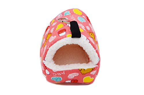 YouMe Go Warm Drawf Robo Syrian Hamster Gerbil Winter Nest Small Pet Animals Bed (S, Pink)