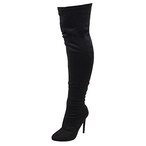 WOMENS THIGH HIGH STRETCH STILETTO HEEL LADIES FAUX SUEDE OVER THE KNEE BOOTS Black Faux Suede