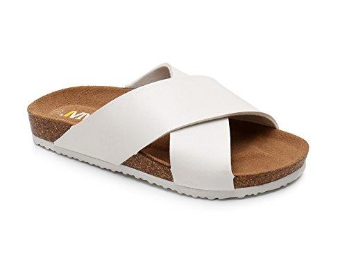 - Women Leather Sandals Arizon Slide Shoes (US 10, White)