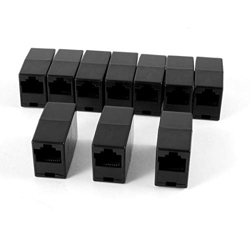 (Promotion! Plastic RJ45 8P8C Female to Female LAN Couplers - Black (Pack of 10))