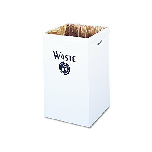 Safco Products 9745 Corrugated Trash Can, White - Corrugated Trash Receptacle