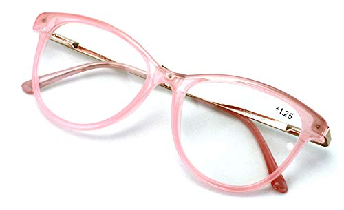 Women Vintage Fashion Oval Reader - Metal Temple Reading Glasses (Translucent Rose Gold, 2.50)