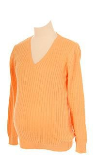 Lilo Maternity Cable V-neck Sweater - Generous Fit (x-large, Melon) by Lilo Maternity