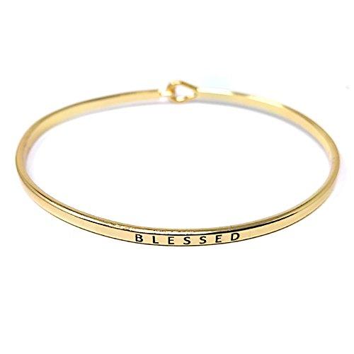 Me Plus Inspirational Blessed Positive Message Engraved Thin Bangle Hook Bracelet