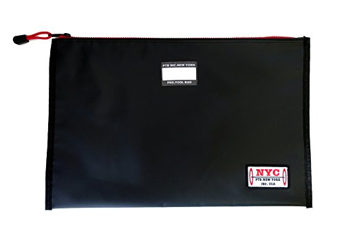 PTB Tarpuline Multi-purpose Big Document Folder Holder File Zipper Bag (BLACK) -