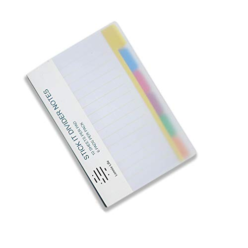 Lonnie Life Divider Sticky Notes 60 Ruled Notes,4 x 6 Inches,Neon Colors