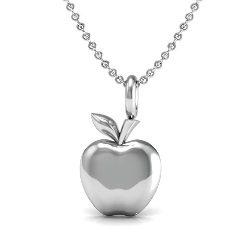 The Best Teacher gift Pendant Necklace, 925 Sterling Silver 18 inch necklace with a delicate apple Charm Pendant for your favorite ()