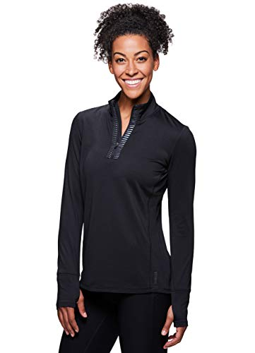 (RBX Active Women's Fleece Lined 1/4 Pullover Running Shirt Black L )