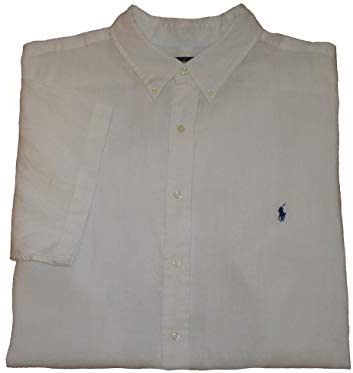 Ralph Lauren Polo Mens Big and Tall Linen Short Sleeve Button-Down Shirt